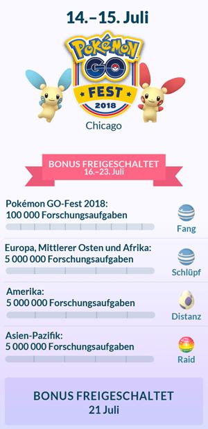 Erinnerung: Am 14. und 15. Juli ist Pokémon Go Fest 17