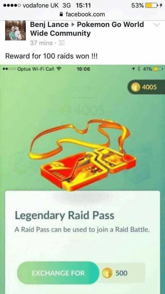 Fakemeldung Legendary Raid Pass 1