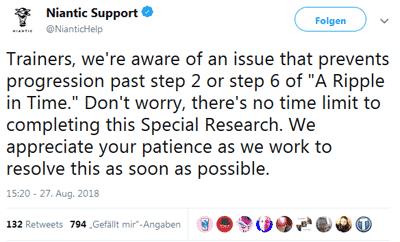Niantic bestätigt Bug bei Celebi-Quest 12