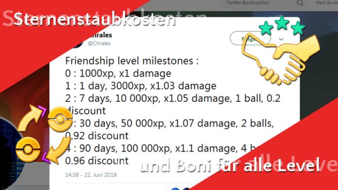 Sternenstaubkosten, Boni und Limits für alle Freundschaftslevel in Pokémon GO 1